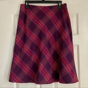 Red and purple plaid A-line Worthington skirt - 12